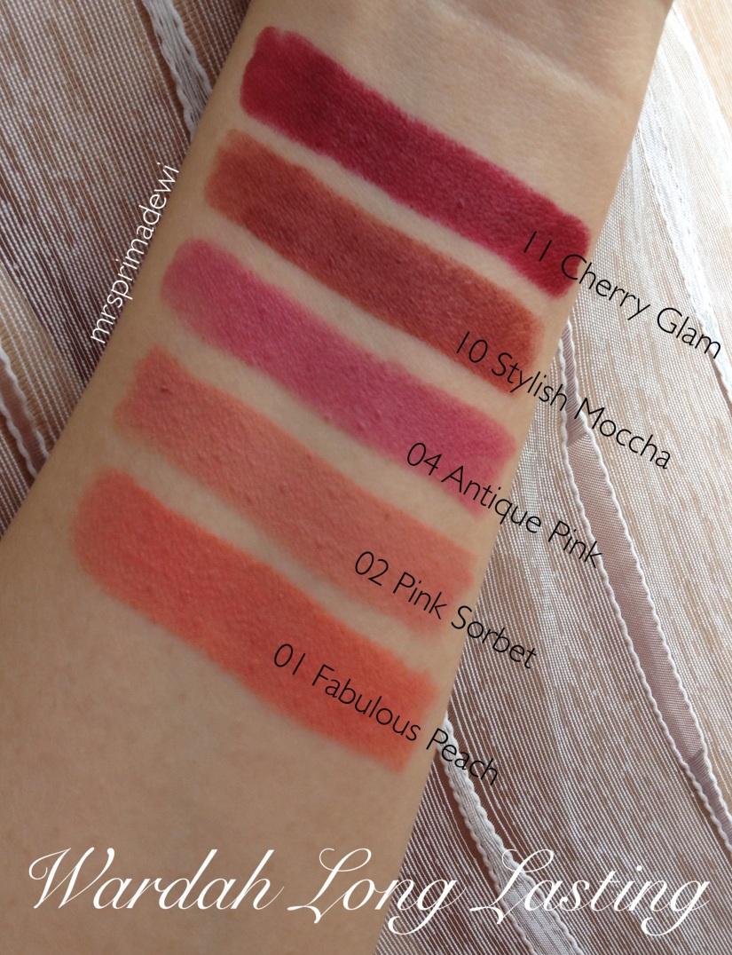 Quick Review Wardah Long Lasting Lipstick 01 02 04 10 11 Mrsprimadewi