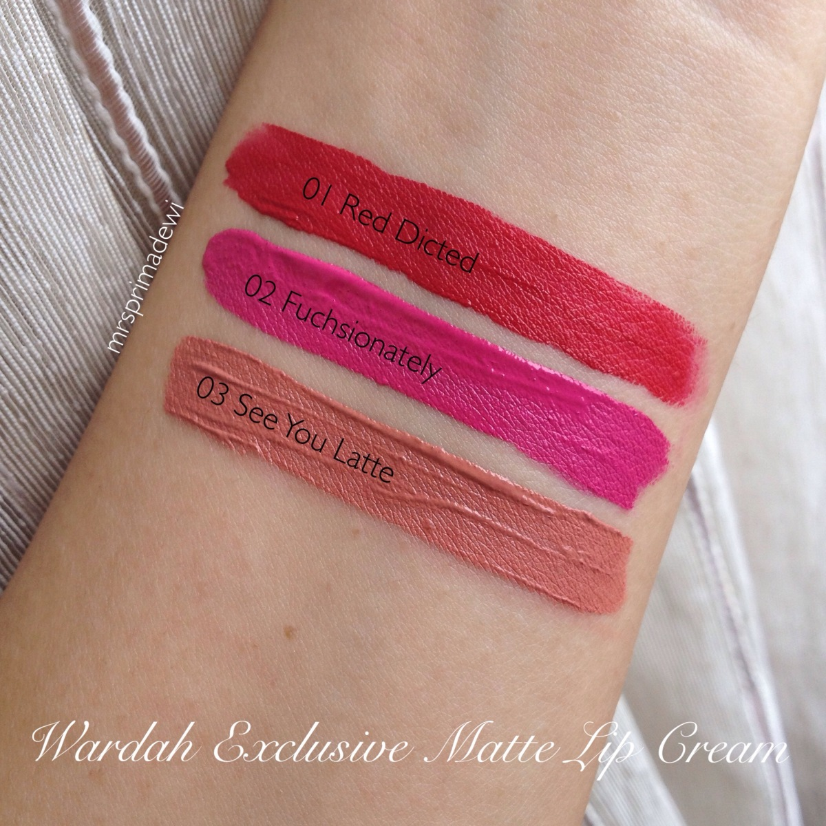 Wardah Exclusive Matte Lip Cream 01,02,03 : Swatch